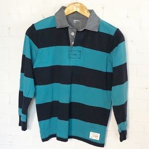 GAP Blue Rugby Elbow Patch Shirt Large Polo